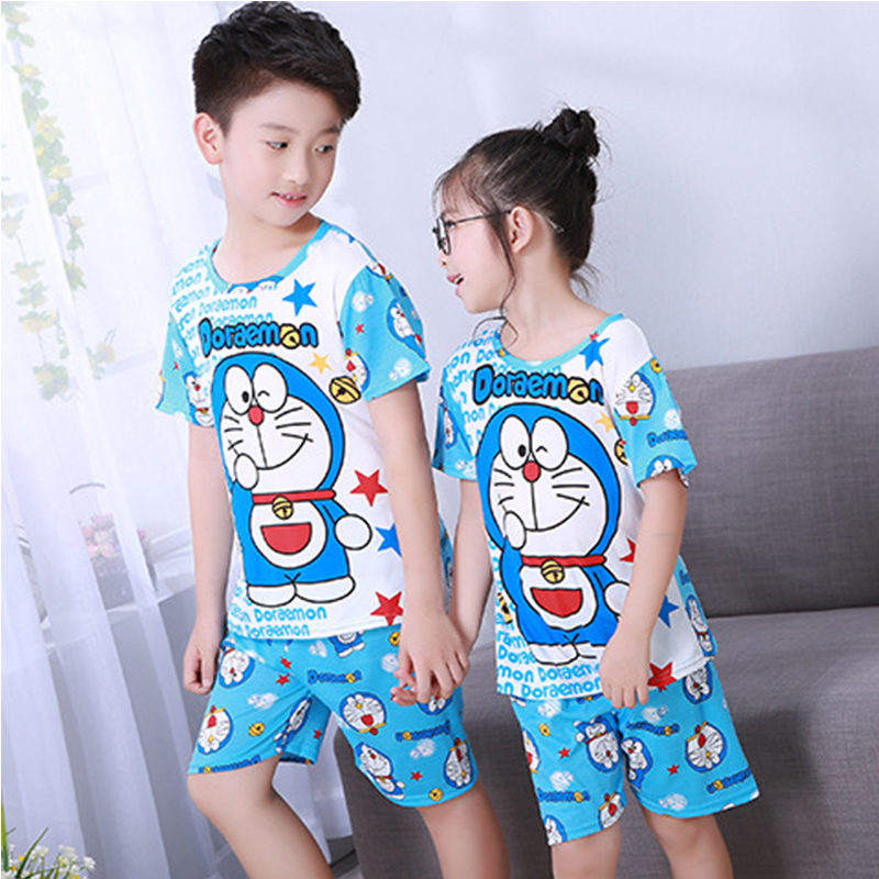 Summer Cartoon Doraemon Leisure Short-sleeved T-shirt Childrens Pajamas Set Cozy Home Suits Kids Baby Girl Boy Clothes T-shirt
