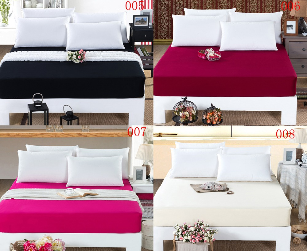 Black and pink bed sheets - Black Red Bedroom Cotton Fitted Sheet Single Double Mattress Cover Bed Sheets Fitted Cover Twin Full Queen Bedspread Bedsheet