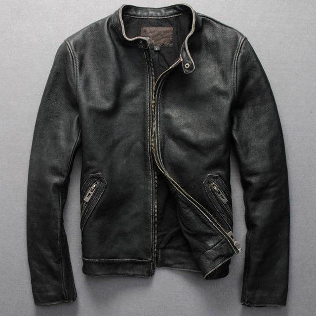 ddcd3c73202 2017 men s Vintage genuine leather jacket Mandarin collar zipper motorcycle  jacket men black cowskin biker jacket male plu size