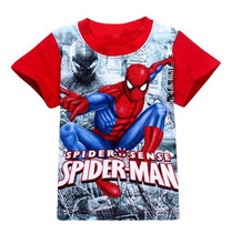 Fashion 2016 Baby Boys Short Sleeve Spider-Man /Spider Man Tshirt Children T-shirt Kids Summer 3D Printer Cotton T Shirt 25C