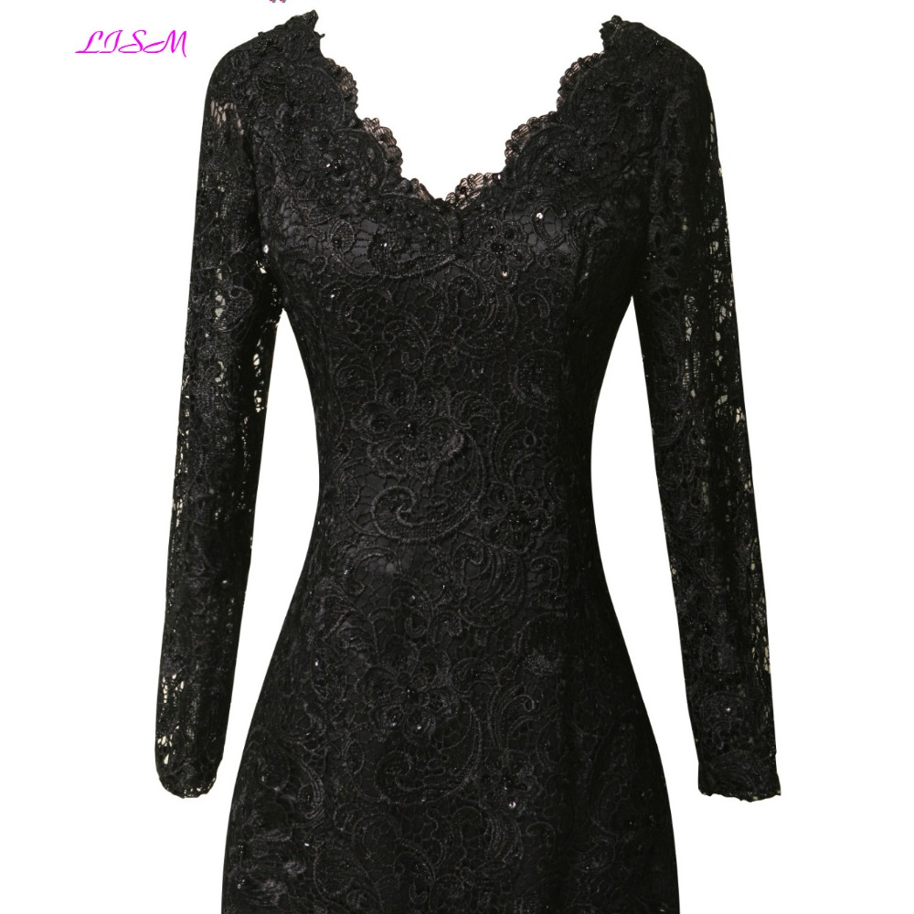 Real Photos Black Lace Evening Dresses V-Neck Long Sleeves Prom Party Gowns Appliques Beaded Formal Gowns Robe de soiree