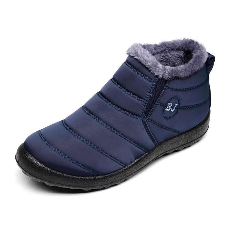 Большие размеры 35-46; женские ботинки; женская зимняя обувь; теплые зимние ботинки; водонепроницаемые лыжные ботильоны с плюшевой подкладкой на нескользящей подошве