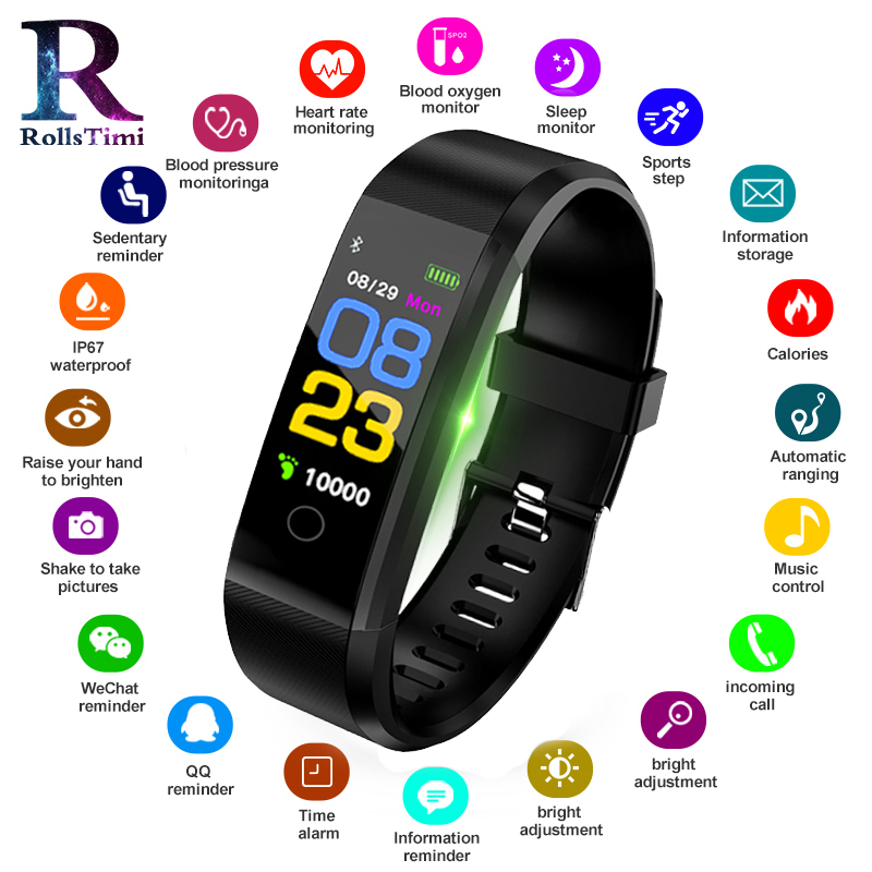 Men s Smart Watches Waterproof Fitness Tracker Sports Wristband Pedometer Heart Rate Women Sports Smart Bracelet