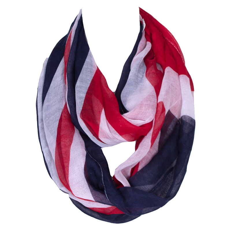 2018 Striped  Ring British Flag Voile Chiffon Blanket Scarf Women New Style Warm Spring  Scarf Womens Fashionable Scarfs
