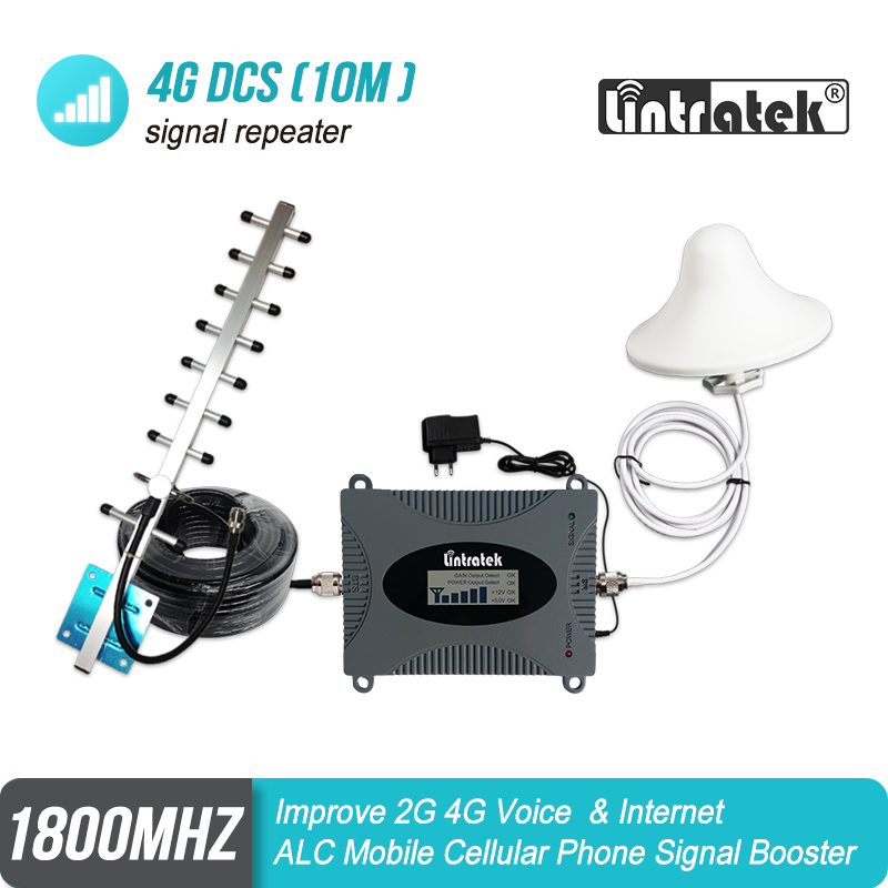 Lintratek GSM 4G LTE 1800MHz Band 3 Cellular Amplifier DCS 1800 65dB Gain Mobile Signal Booster LCD Display Repeater S7