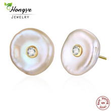 Hongye Real Natural Freshwater Pearl Flat Barock 925 Sterling Silver Brincos Guld Silver Färg Stud Örhängen För Kvinnor 2017 Ny