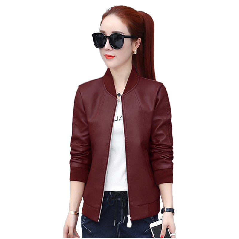 Women Black   Leather   Biker Jacket Autumn Winter 2018 Punk Motorcycle Jacket Coats Female Casual Streetwear Fake   Leather   Outerwear