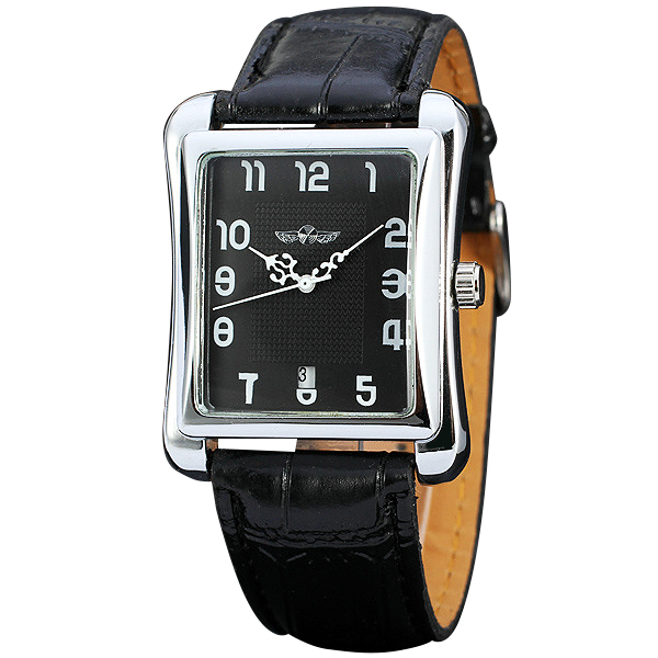Top Fashion Leisure Watches for Men's WINNER Brand Retangle Automatic Mechanical Wrist Watches Concise Business Clock +GIFT BOX