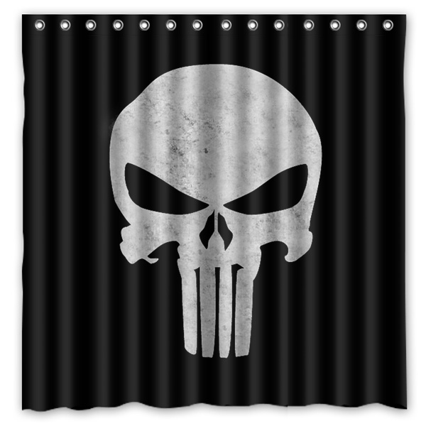 180x180cm Punisher Skull Bathroom Waterproof Polyester Shower ...