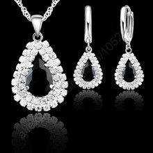 Jewelry Sets Black 925 Sterling Silver Austrian Crystal Necklace Hoop Earring Set Women Weddin...