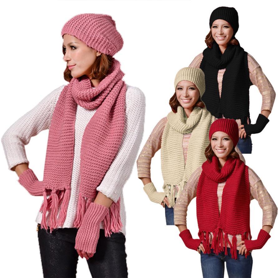 winter women hat Solid wool cap+scarf+glove Knitted Woolen Crochet Fur Wool Knit Beanie Warm girl Shawl Suit pentacle star warm skull beanie hip hop knit cap ski crochet cuff winter hat for women men new sale