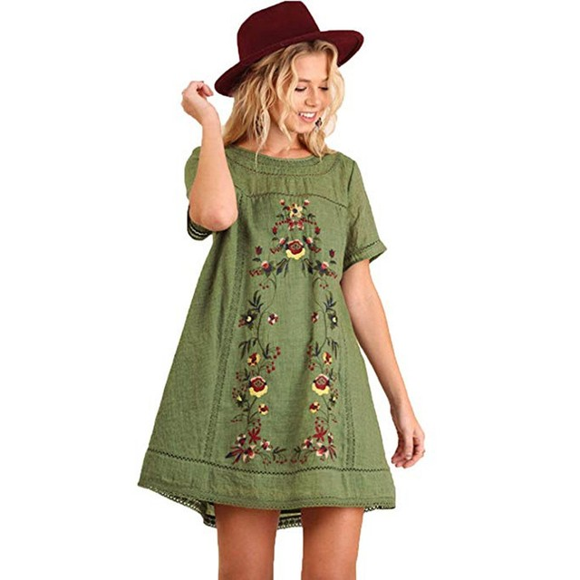 MUQGEW Women's Bohemian Embroidered Short Sleeve Dress or Tunic cotton blouses and shirts for ladies half sleeves summer blouse