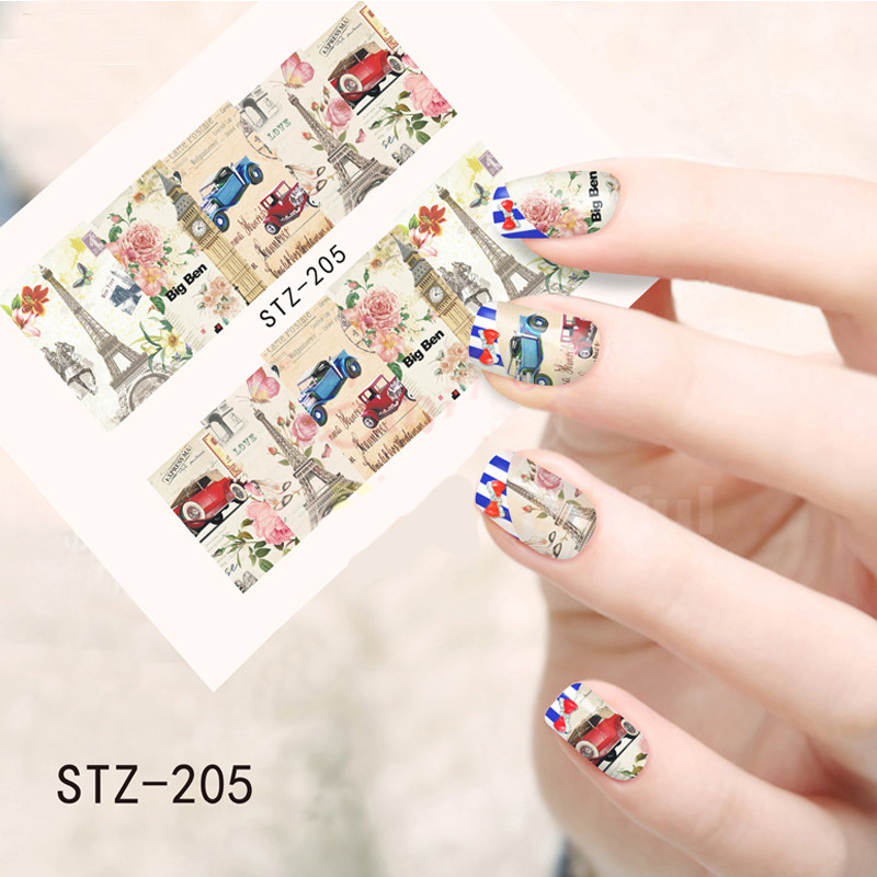 1sheet Vintage Paris Style Designs Nail Art Water Transfer Stickers