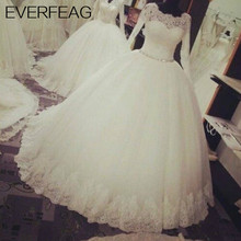 EVERFEAG Long Sleeves Ball Gown Camouflage Wedding Dress