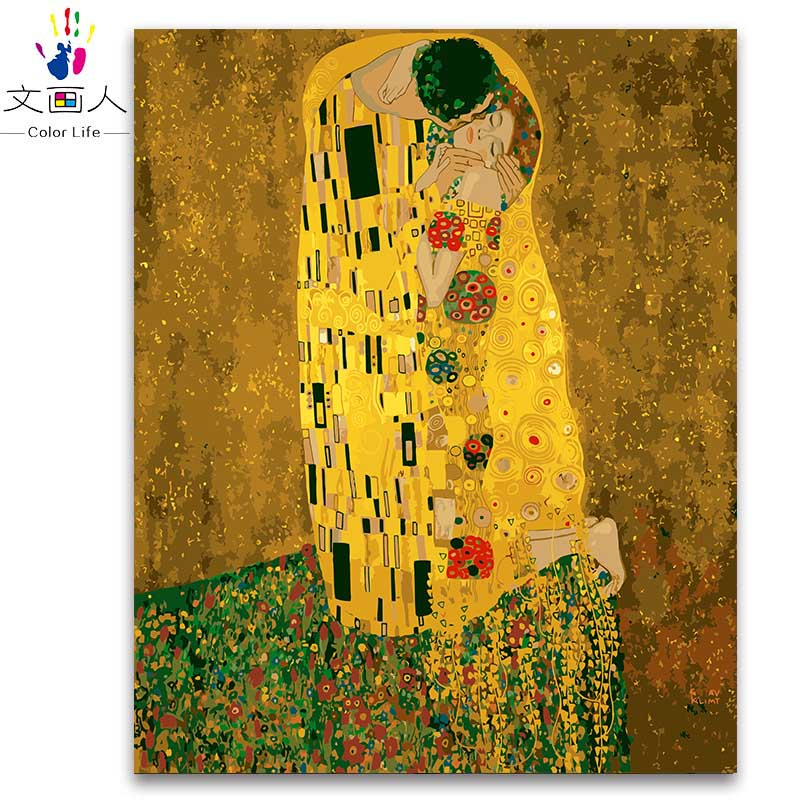 Coloring by numbers package Gustav Klimt kissing gold figure paintings pictures by numbers with kits for living room decoration