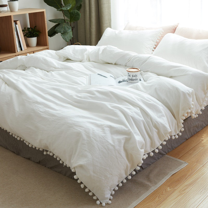 Nordic Small Fresh Home Design 4: PanlongHome Washed Cotton Bedding Sets Fur Ball Lace