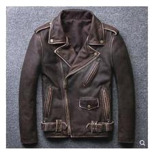 VANLED shipping.Brand clothing cow leather Jackets men's top genuine Leather biker