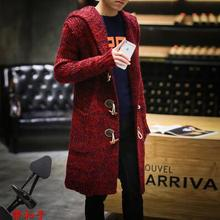 Loose sweater men medium-long trench coats mens spring cardigan plus size horns overcoat men's clothing thicken hooded M – 5XL