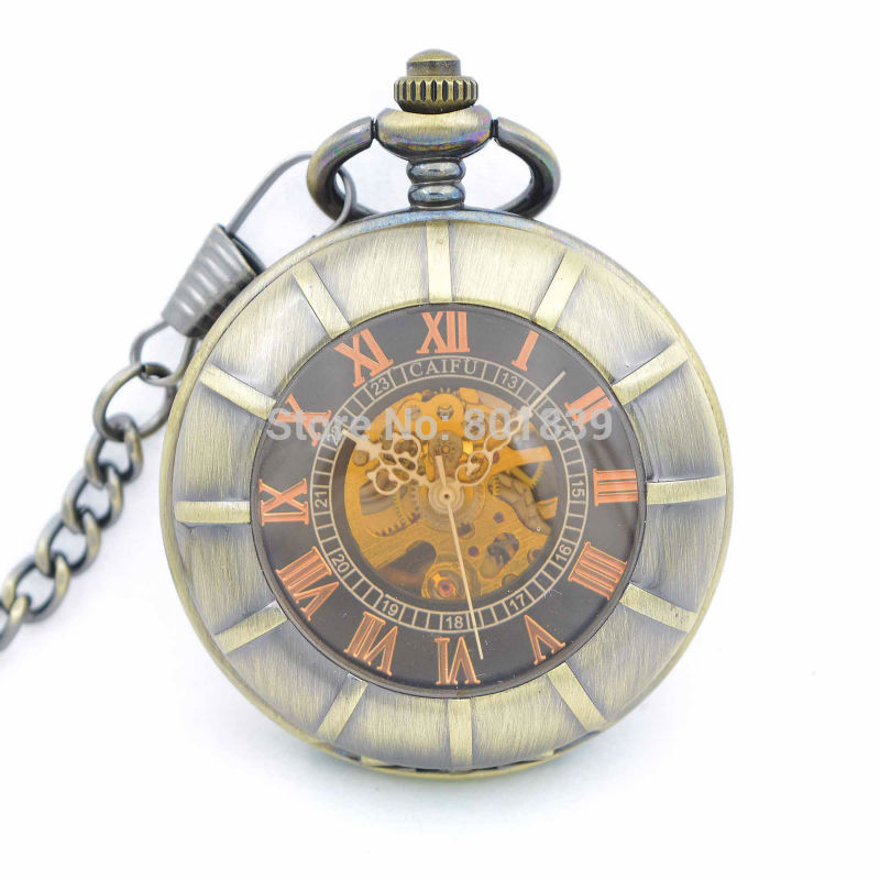 online get cheap wind up pocket watch aliexpress com alibaba group h280 antique style new tawny case double open skeleton hand wind up pocket watch w chain mechanical pocket watch for men