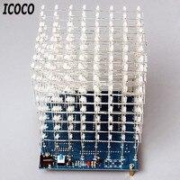 ICOCO 3D Squared Kit FAI DA TE HA CONDOTTO Cubo 8x8x8 3mm Blu/Rosso LED Light Cube Scheda PCB elettronica