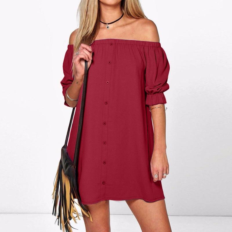 ZANZEA 2018 8 Colors Women Dress Sexy Off Shoulder Party Short Dress Casual  Loose Half Sleeve c39016c7d8b4