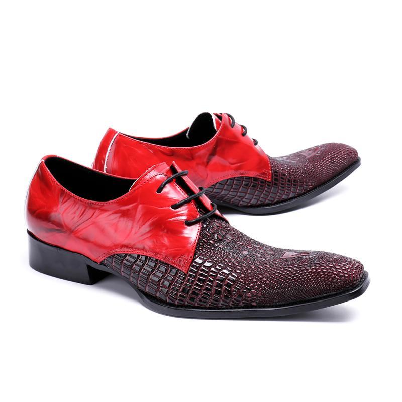 À lacets Bout Carré Hommes Chaussures En Cuir Véritable Boucle Affaires Formelles Oxford Chaussures Zapatos Hombre De Bal De Mariage Chaussures Hommes Appartements - 4