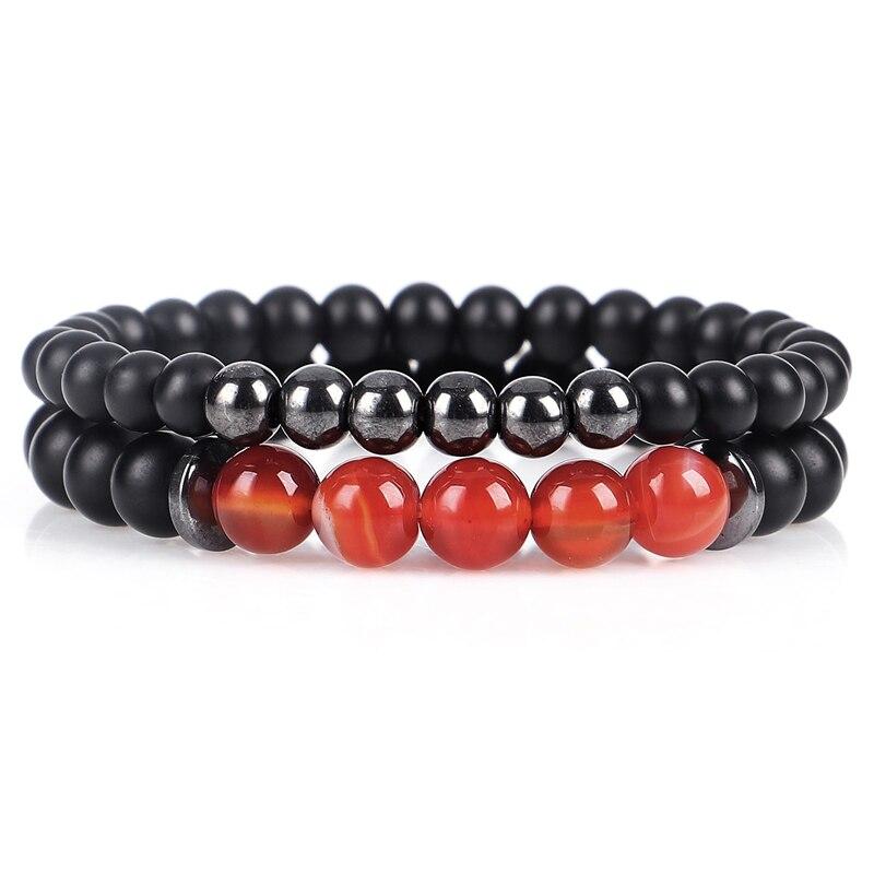 2pc\set Natural Stone Bracelet Beaded Handmade Black Mantra Prayer Beads Buddha Bracelet For Women And Mens