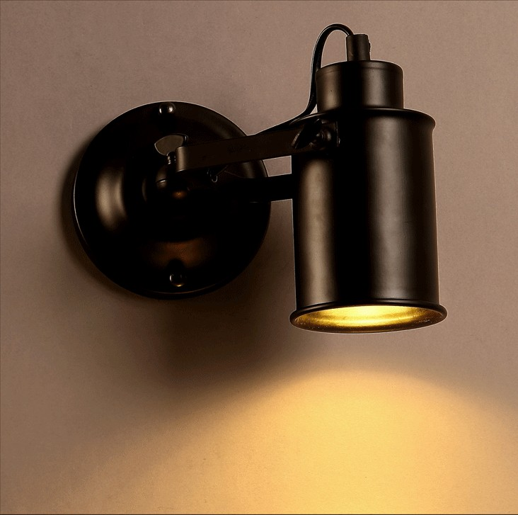 ФОТО A1 American retro background wall lamp iron personality clothing store mural photo wall lamp LED bedside mirror lamp Black