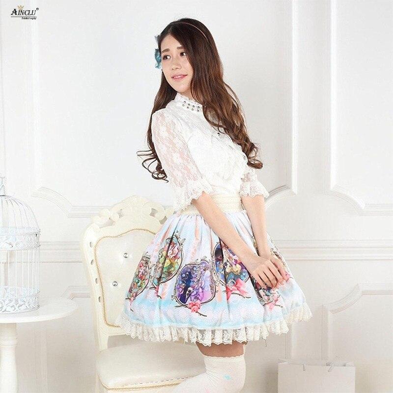 Lolita Style dentelle jupes femmes bleu ciel Polyester astrologie Patron peinture imprimé douce princesse plissée Lolita jupes XS-XXL
