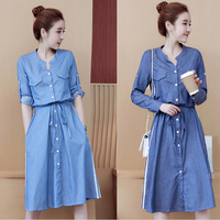 df38f3c90f15fe Spring Women Denim Dress Long Sleeve Jeans Summer Button Loose Dress Down  Split Blue