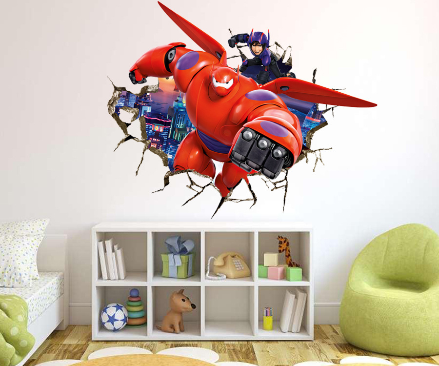 Elegant Cartoon Creative 3D Baymax Big Hero 6 Through Walls Armor DIY Wall Stickers  Kids Room Nursery Home Decor Mural Decal Wallpaper In Wall Stickers From  Home ...