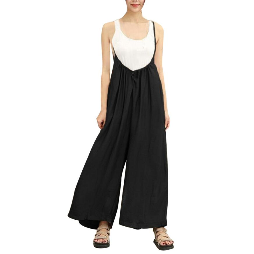 Fashion Women Wide Leg Pants Vocation Dungarees Casual Jumpsuits Long Trousers Rompers High Loose Overalls