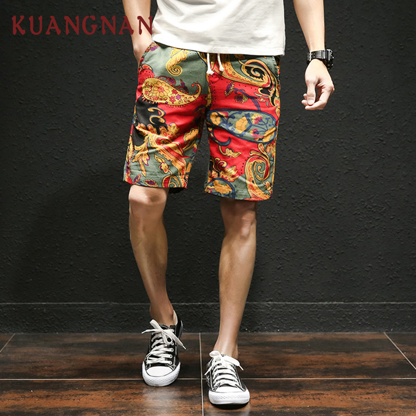 KUANGNAN Japanese Casual Drawstring Printed Streetwear Summer Men Shorts Cotton Linen