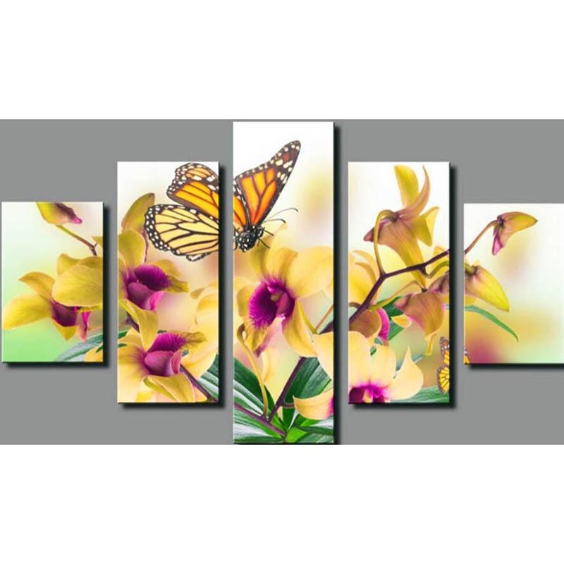 Papillon lys fleur triptyque diamant broderie peinture strass 3D image point de croix motif décoration de la maison QW12