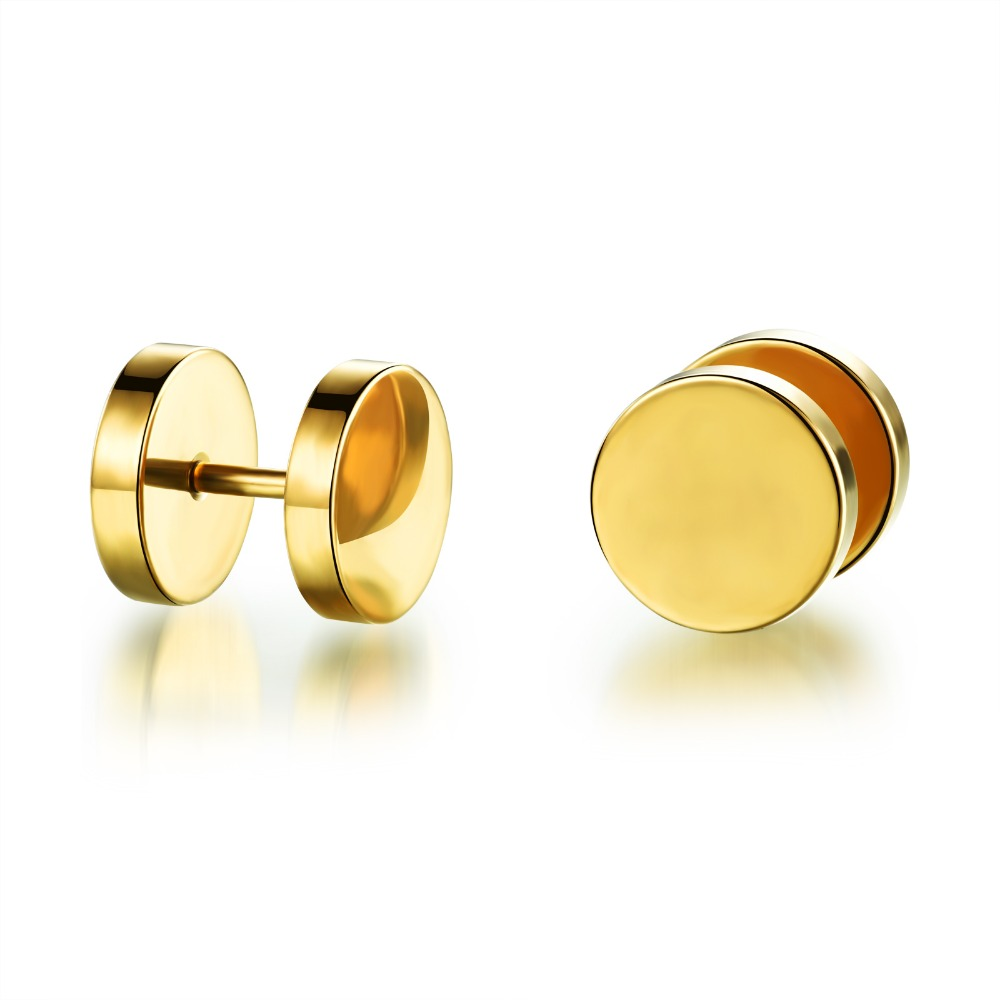 Personality and contracted Man earrings Circular dumbbell round cakes car wheels titanium steel stud earrings