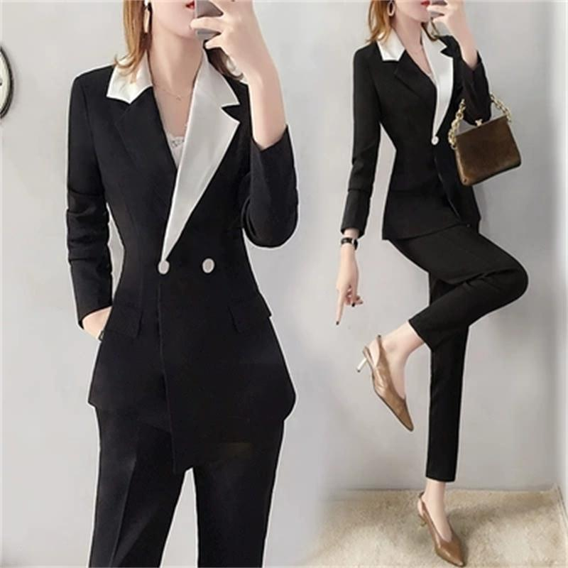 Fashion suit suit female British summer dress New high end temperament black irregular small suit pants