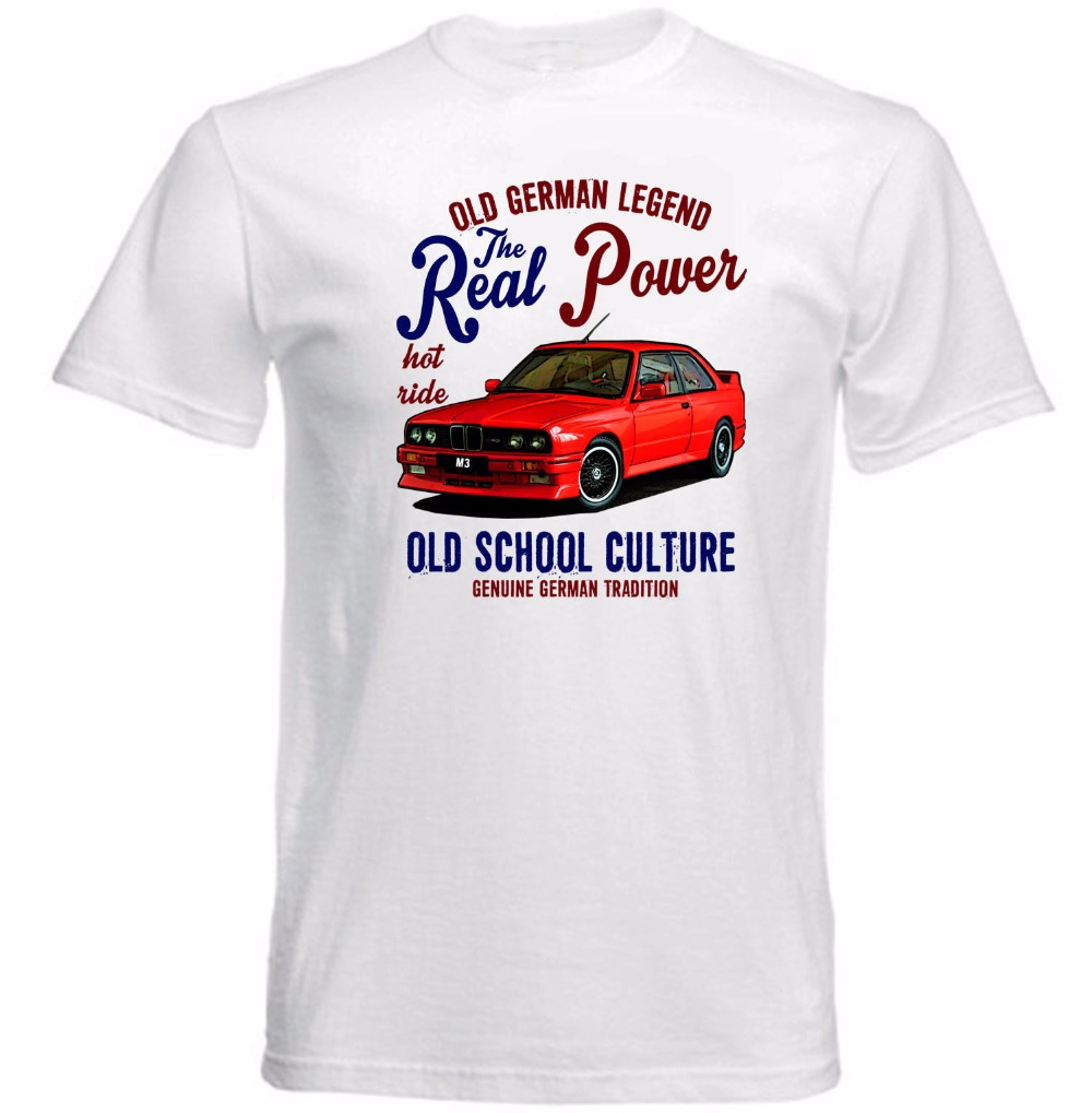 2017 Fashion 100 Cotton Slim Fit Top Solid Color Vintage German Car M3 Real Power Print Tee Shirt For Male In T Shirts From Mens Clothing Accessories