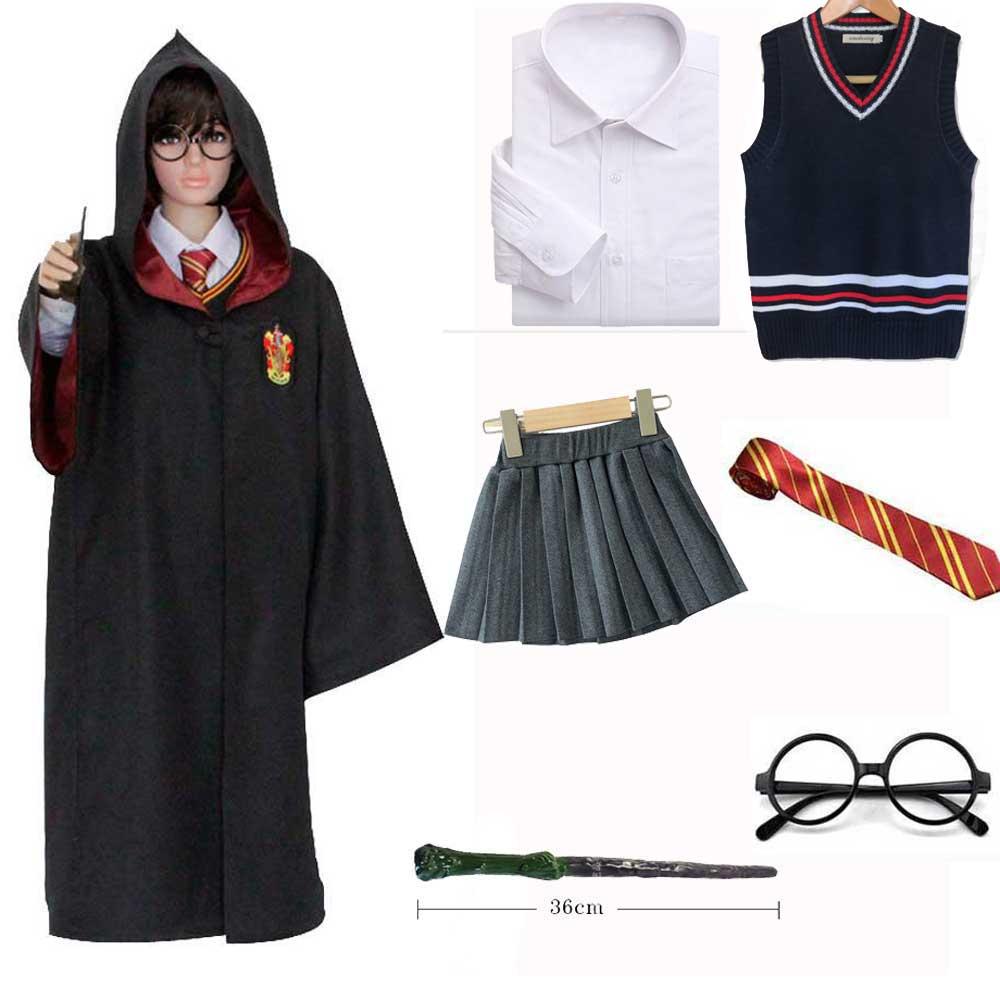 Girls Boys Hermione Granger Cosplay Gryffindor Robe Sweater Skirt Tie Shirt Wand Set Kids Gryffindor Costume Set