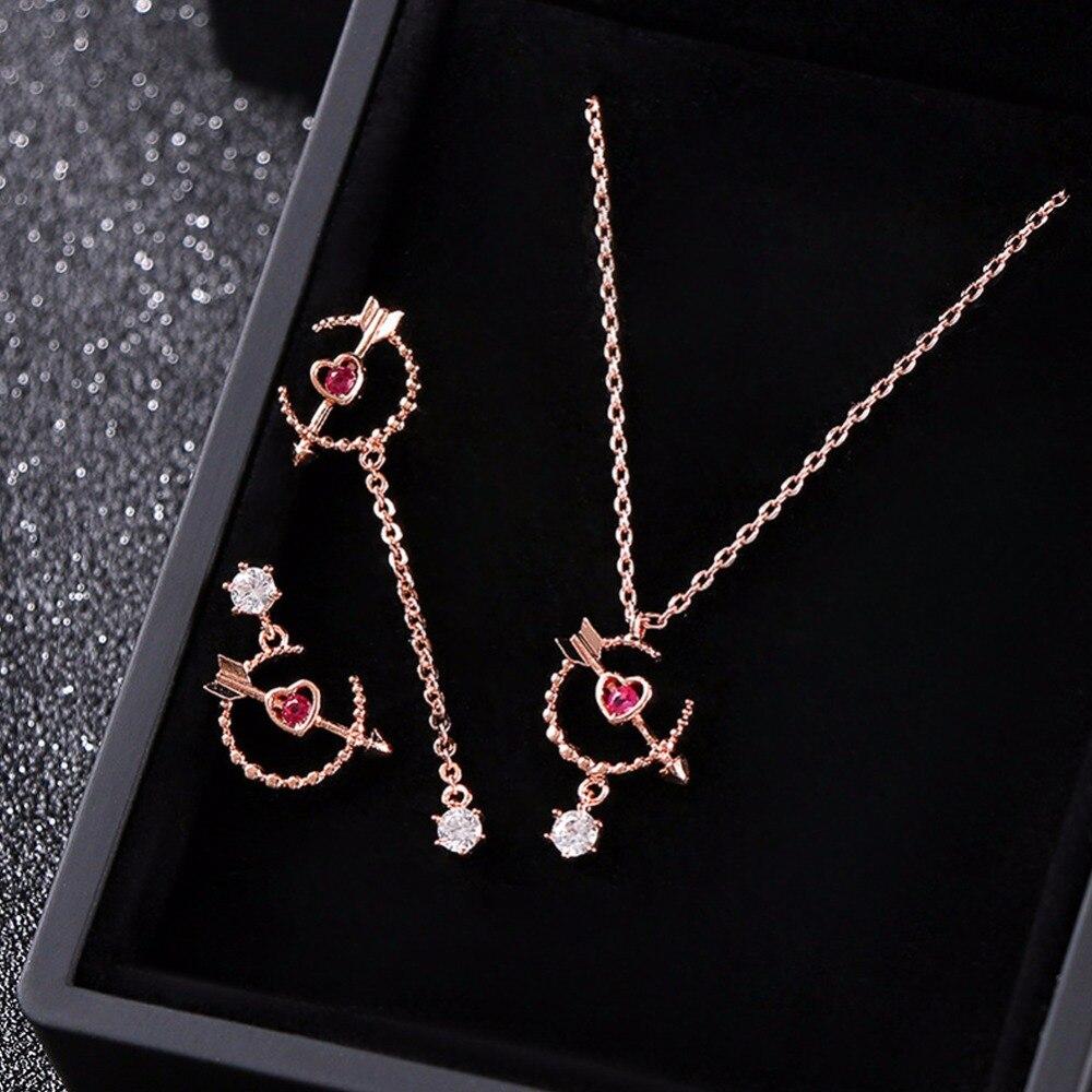 925 Sterling Silber Aushöhlen Herz Anhänger Halskette Asymmetrische Pfeil Durch Liebe Herz Ohrringe Romantische Schmuck Set Geschenk