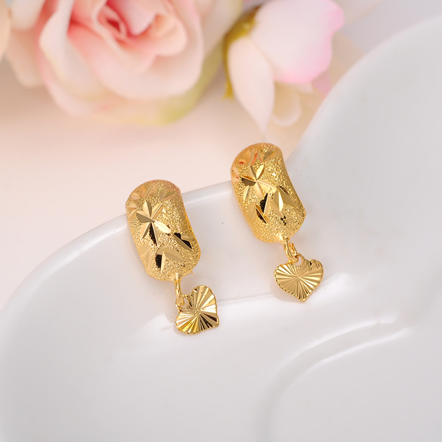 2 Pairs Ethiopian Nigeria Kenya Ghana Yellow Gold Color Dubai Earrings Arab Middle