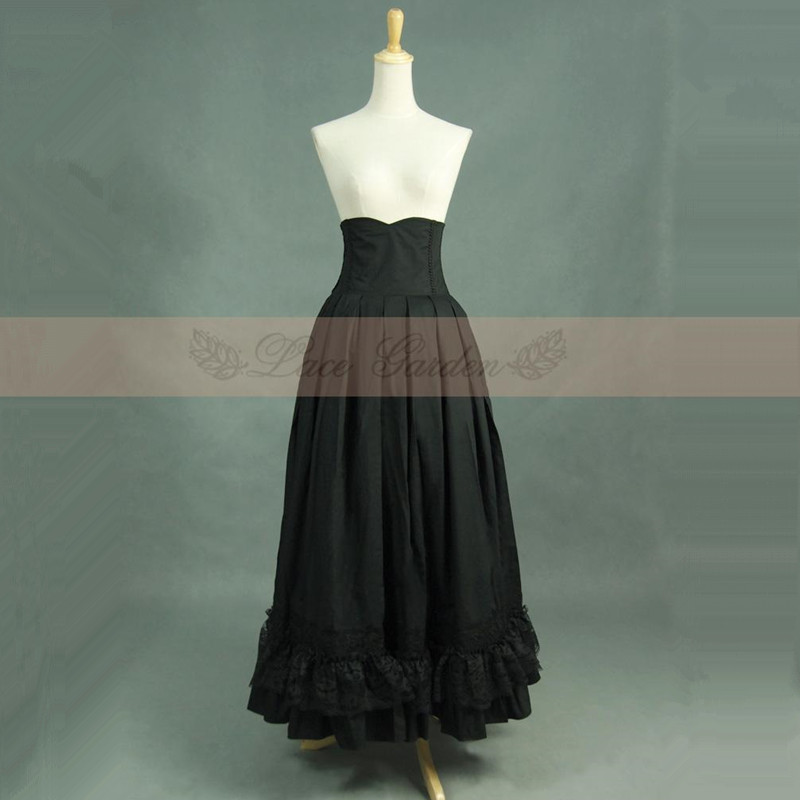 Free Shipping 2019 New Vintage High Waist Long Maxi A line Plus Size Royal Design Women Lace Bandage Skirts With Big Hem XS XL