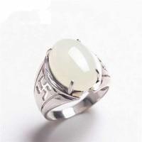 Синьцзян нефритовый белый yu натурального 925 серебро позолоченное кольцо инкрустированные yu ювелирные изделия мужские кольца/