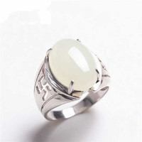 Xinjiang Hetian white yu natural genuine 925 silver gilt ring inlaid yu jewelry Mens Rings/