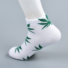 Bamboo Summer Women Men's Funny Ankle Socks Hemp Meias Short Happy Maple Leaf sokken Cotton Weed Men Grass White Black Socken