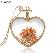 5pcs Wholesale heart dried flowers necklaces photo frame pendant necklace for women DIY locket summer statement necklace(China)