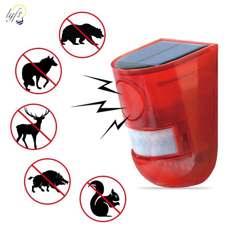 Alarma de sonido Solar, flash de advertencia, alarma de sonido y luz, Sensor de movimiento, 110 decibelios, sirena estroboscópica, sistema de alarma de seguridad para granja