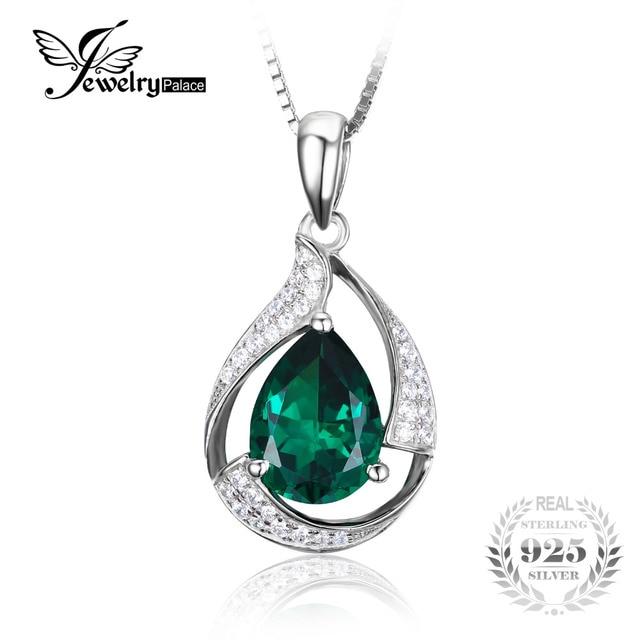 Jewelrypalace 2.7ct pera verde creado nano ruso esmeralda colgante plata de ley 925 al por mayor de moda colgante sin cadena