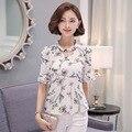Mulheres Camisa Chiffon Plus Size Verão 2017 Da Borboleta Da Luva Solto Tops Estilo Coreano Impresso Moda Blusa Com Decote Em V Hot Sale S-3XL