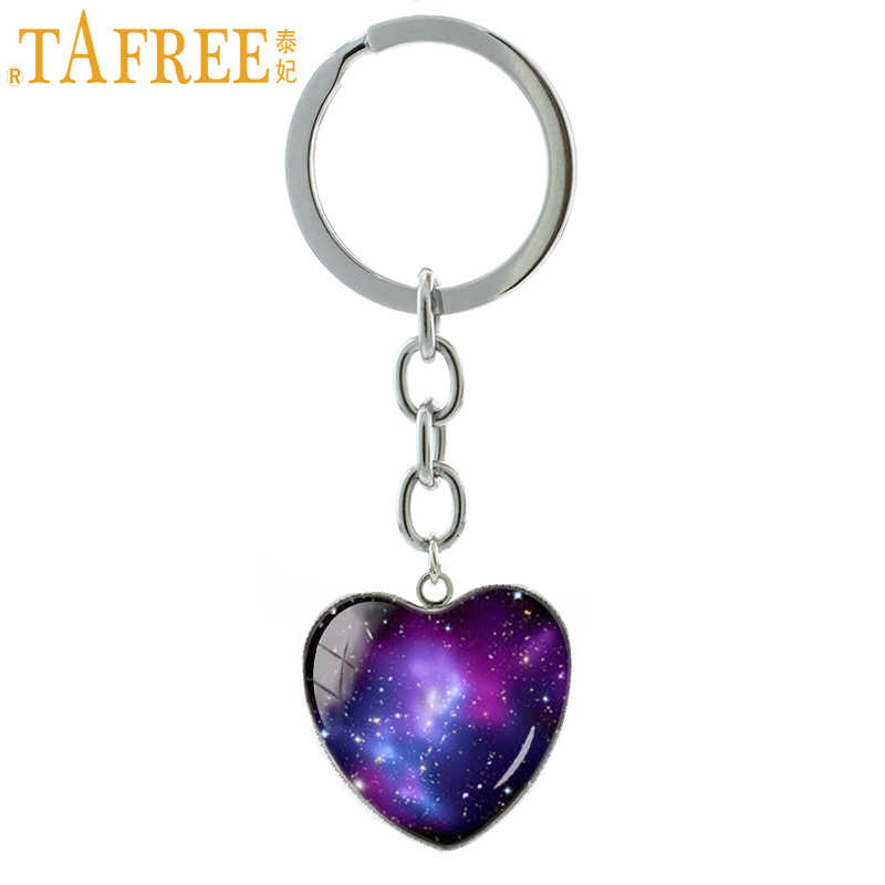 TAFREE space universe Nebula keychain Christmas New Year gifts fashion  Galaxy Series heart pendant key chain ec6726aab