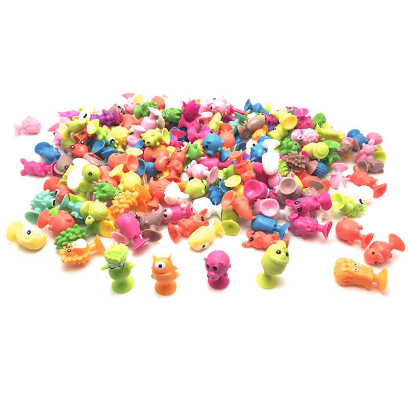 Children's 20pcs/lot Cupule Cartoon Animal monster Action Figures toys Sucker Mini Suction Cup Collector Capsule model kids gift